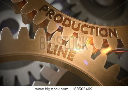 Production Line - Illustration with Glowing Light Effect. Production Line on Mechanism of Golden Cog Gears with Lens Flare. 3D Rendering.