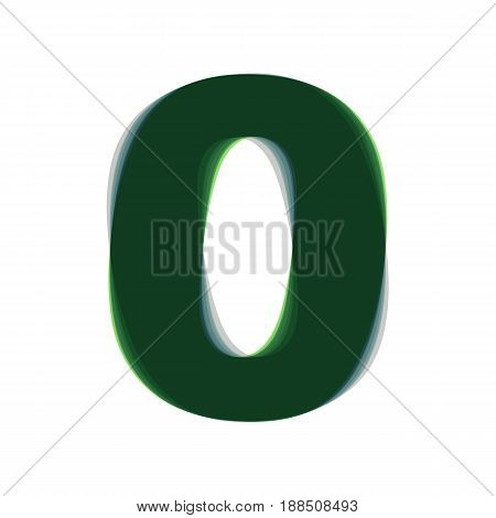 Number 0 sign design template element. Vector. Colorful icon shaked with vertical axis at white background. Isolated.