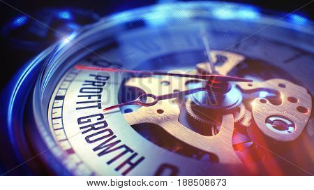 Business Concept: Profit Growth Wording. on Pocket Watch Face with CloseUp View of Watch Mechanism. Time Concept with Selective Focus and Film Effect. 3D.