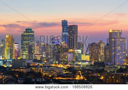 View of Bangkok modern office buildings condominium in Bangkok city downtown with sunset sky Bangkok is the most populated city in Southeast Asia. Bangkok Thailand
