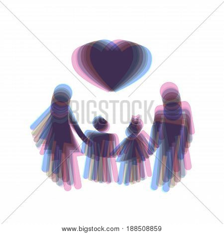 Family symbol with heart. Husband and wife are kept children's hands. Vector. Colorful icon shaked with vertical axis at white background. Isolated.