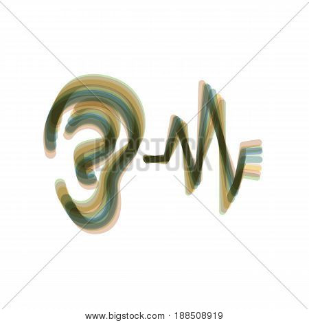 Ear hearing sound sign. Vector. Colorful icon shaked with vertical axis at white background. Isolated.