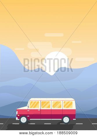 Vector road trip illustration. Modern flat design banner. Travelling van on the road surrounded by mountains and the sun setting down.