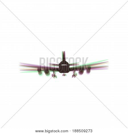 Flying Plane sign. Front view. Vector. Colorful icon shaked with vertical axis at white background. Isolated.