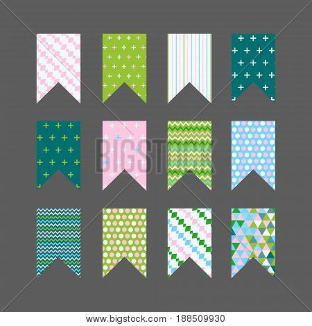 Vector set of bunting flags with colorful patterns. Modern flat design. Trendy colors. Square shaped flags.