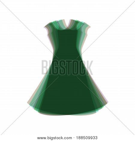 beautiful long dress sign. Vector. Colorful icon shaked with vertical axis at white background. Isolated.