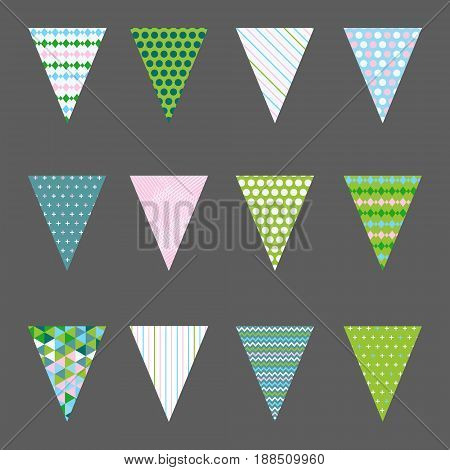 Vector set of bunting flags with colorful patterns. Modern flat design. Trendy colors. Triangle shaped flags.