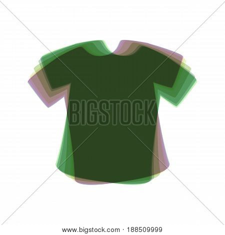 T-shirt sign. Vector. Colorful icon shaked with vertical axis at white background. Isolated.