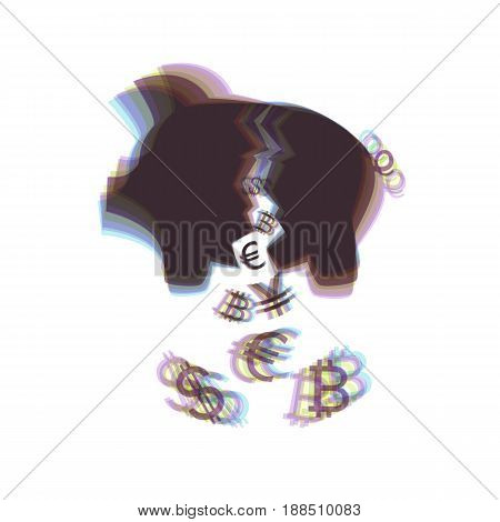 Pig money bank sign. Vector. Colorful icon shaked with vertical axis at white background. Isolated.