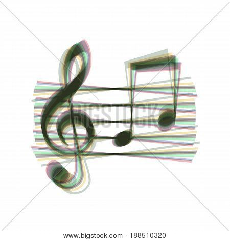 Music violin clef sign. G-clef and notes G, H. Vector. Colorful icon shaked with vertical axis at white background. Isolated.