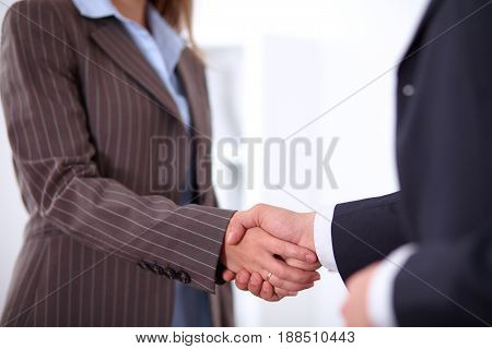 Business people shaking hands, standing. Success concept