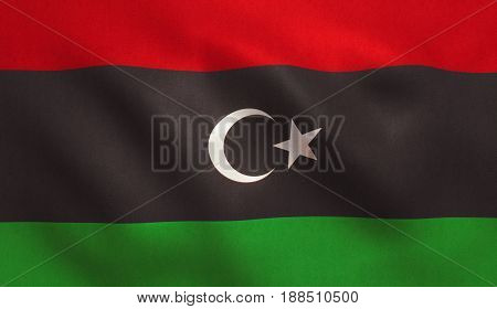 Libya flag with fabric texture. 3D illustration.