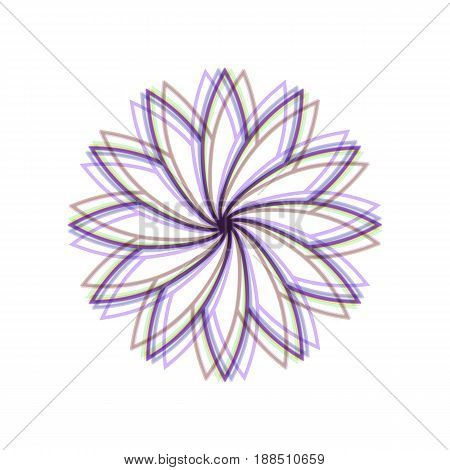 Flower sign. Vector. Colorful icon shaked with vertical axis at white background. Isolated.