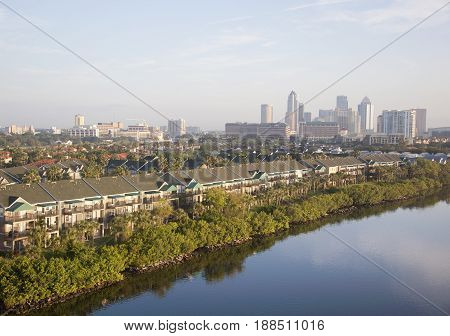 The view of Harbour Island residential district and Tampa downtown in a morning light (Florida).