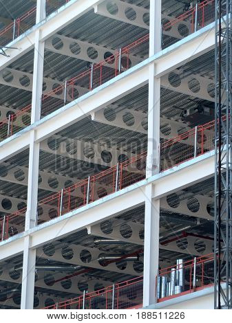 construction site with metal framework and girders