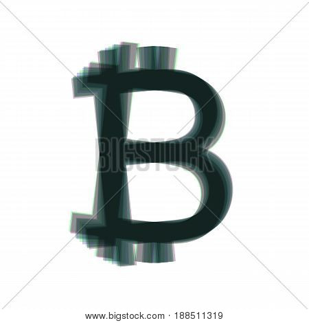 Bitcoin sign. Vector. Colorful icon shaked with vertical axis at white background. Isolated.