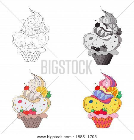 Vector illustration an image of a fantastic cake. Black and white line silhouette black and white gray and color image