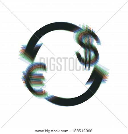 Currency exchange sign. Euro and US Dollar. Vector. Colorful icon shaked with vertical axis at white background. Isolated.