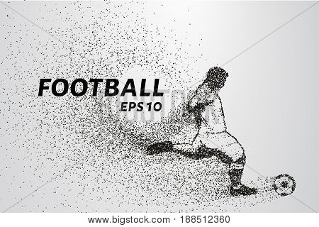 Football Of The Particles. Silhouette Of A Football Player Consists Of Points And Circles. Vector Il