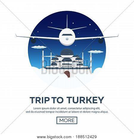 Istanbul. Turkey. Blue Mosque. Tourism. Travelling Illustration. Modern Flat Design. Turkey Travel.