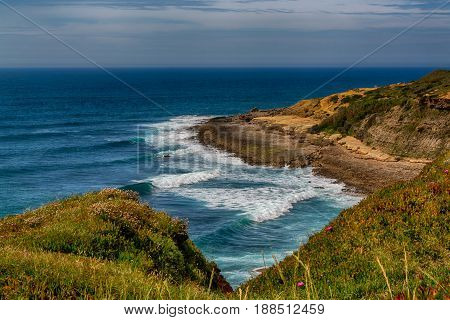 Ericeira Portugal. 15 May 2017.Crazy Left surf spot is Part of the World Surfing Reserve and its right outside Ericeira Village. Ericeira Portugal. photography by Ricardo Rocha.