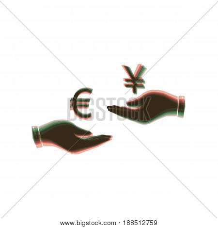 Currency exchange from hand to hand. Euro and Yen. Vector. Colorful icon shaked with vertical axis at white background. Isolated.