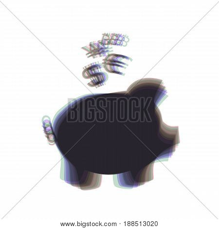 Piggy bank sign with the currencies. Vector. Colorful icon shaked with vertical axis at white background. Isolated.