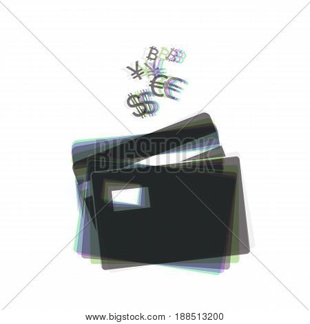Credit cards sign with currency symbols. Vector. Colorful icon shaked with vertical axis at white background. Isolated.