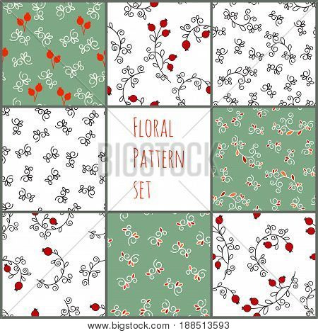 Set of vector floral pattern. Seamless background, vector pattern for cushion, pillow, bandanna, kerchief, shawl fabric print. Texture for clothes and bedclothes