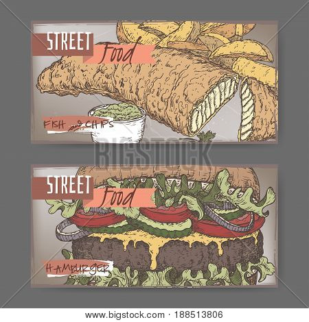 Set of two landscape banners with fish, chips and hamburger color sketch on grunge background. British and American cuisine. Street food series. Great for market, restaurant, cafe, food label design.