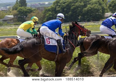PYATIGORSK,RUSSIA - MAY 28,2017 : Horse race for the traditional prize Ogranichitelni in Pyatigorsk,the largest in Russia on May 28,2017.
