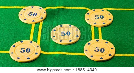 Five chips on the poker field such chips constitute the prize money to the player who wins the game