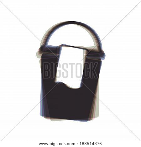 Bucket and a rag sign. Vector. Colorful icon shaked with vertical axis at white background. Isolated.