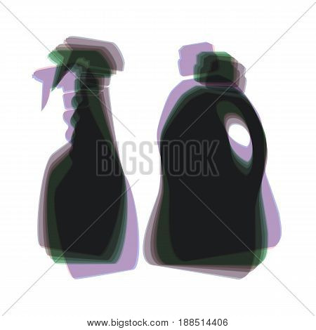 Household chemical bottles sign. Vector. Colorful icon shaked with vertical axis at white background. Isolated.