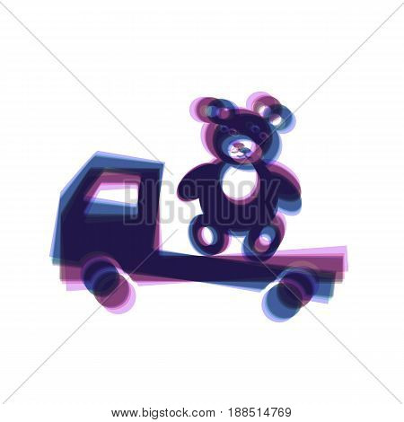 Truck with bear. Vector. Colorful icon shaked with vertical axis at white background. Isolated.