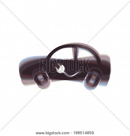 Electric car sign. Vector. Colorful icon shaked with vertical axis at white background. Isolated.