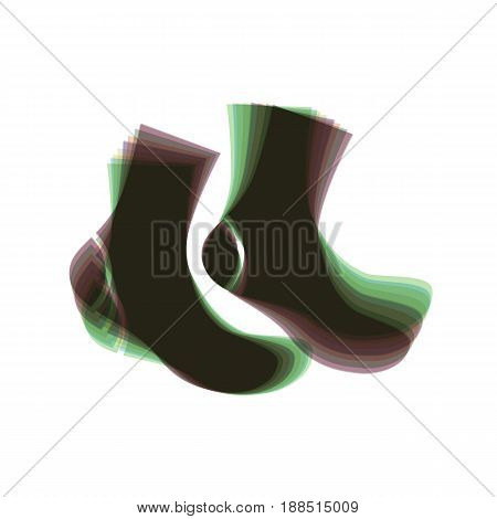 Socks sign. Vector. Colorful icon shaked with vertical axis at white background. Isolated.