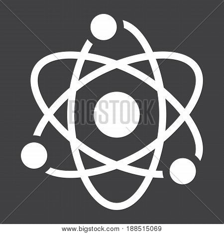 Atom solid icon, Education and physics, vector graphics, a filled pattern on a black background, eps 10.