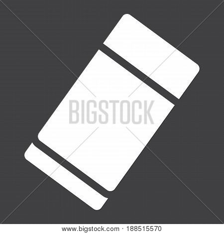 Eraser solid icon, education and school, rubber vector graphics, a filled pattern on a black background, eps 10.
