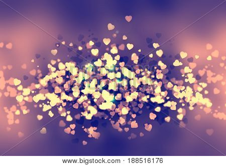 Happy St Valentine day bokeh background with hearts and smooth elements