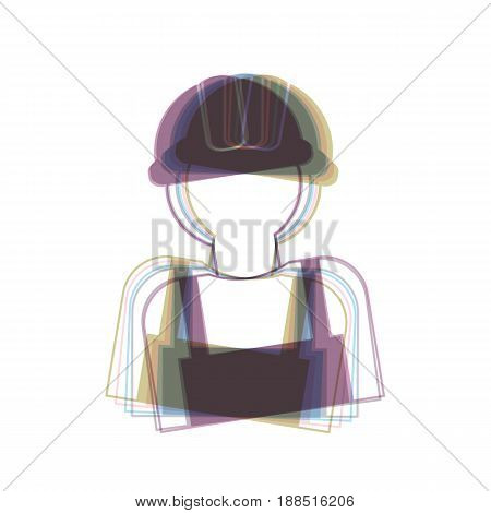 Worker sign. Vector. Colorful icon shaked with vertical axis at white background. Isolated.