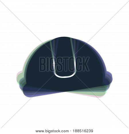 Hardhat sign. Vector. Colorful icon shaked with vertical axis at white background. Isolated.