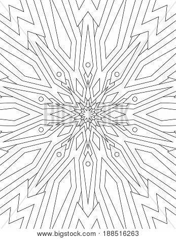 Page coloring book for adults mandala drawn with black lines on white background