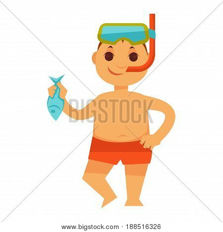 Boy kid or child in swimwear and snorkeling mask holding fish in hand at beach. Children on summer holidays vector isolated icon