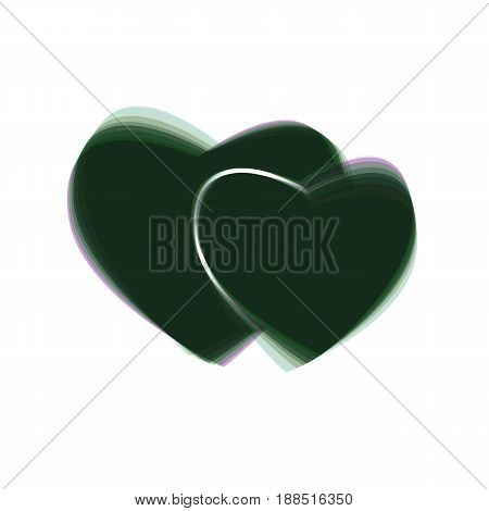Two hearts sign. Vector. Colorful icon shaked with vertical axis at white background. Isolated.