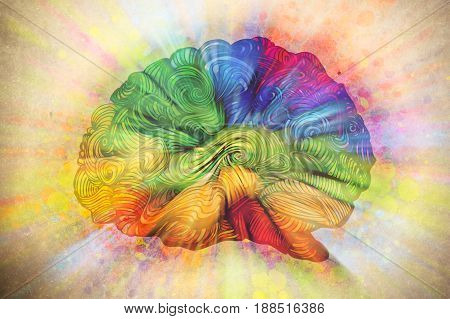Brain doodle illustration, sketched colored concept about fresh ideas in human mind