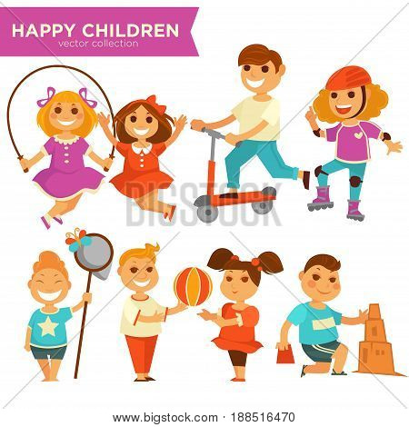Happy children playing outdoor games. Young girl child jumping on jump rope with ball and roller skate, boy kid on scooter, catching butterfly in scoop or making sand castle. Vector isolated icons set