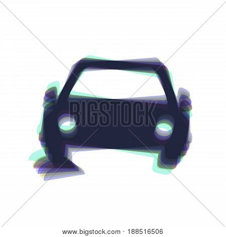 Car parking sign. Vector. Colorful icon shaked with vertical axis at white background. Isolated.