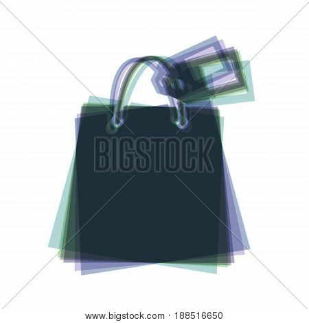 Shopping bag sign with tag. Vector. Colorful icon shaked with vertical axis at white background. Isolated.