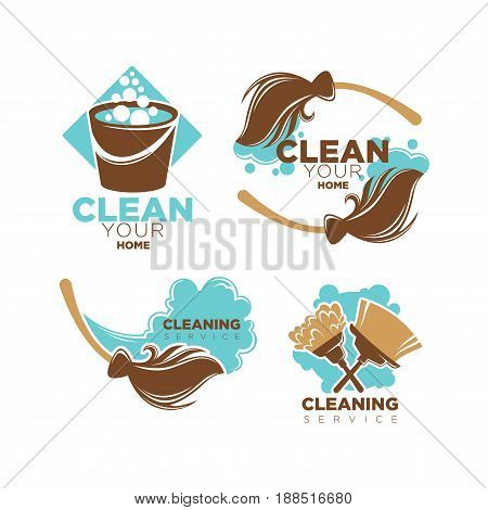 Home cleaning service logo templates set. Vector isolated symbols of duster brush and broom with dust scoop, water in washing bucket for mopping with soap bubbles splash